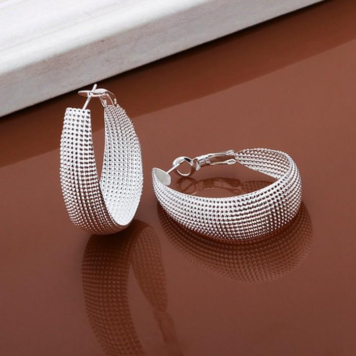 SE064 Silver Jewelry Egg Hoop Earrings For Women