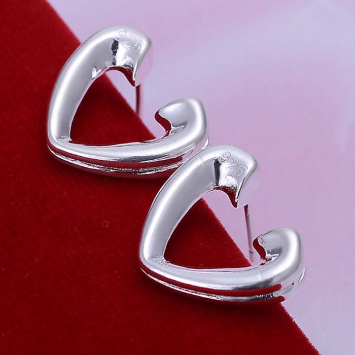 SE065 Silver Jewelry Open Heart Stud Earrings For Women
