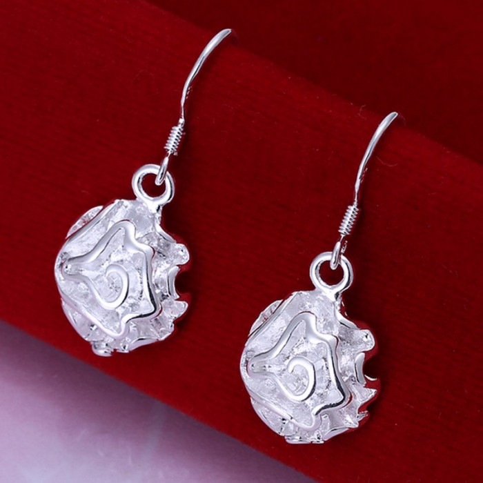SE066 Silver Jewelry Rose Flower Dangle Earrings For Women