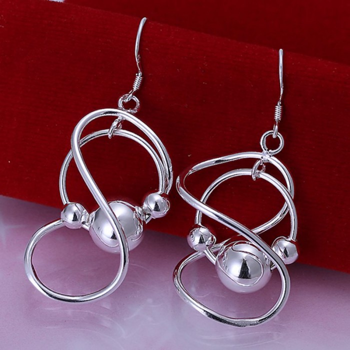 SE071 Silver Jewelry Ball Dangle Earrings For Women