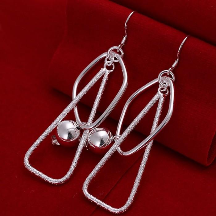 SE072 Silver Jewelry Ball Long Dangle Earrings For Women