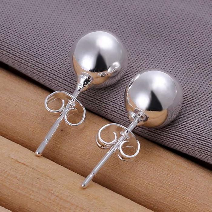 SE073 Silver Jewelry 8mm Ball Stud Earrings For Women