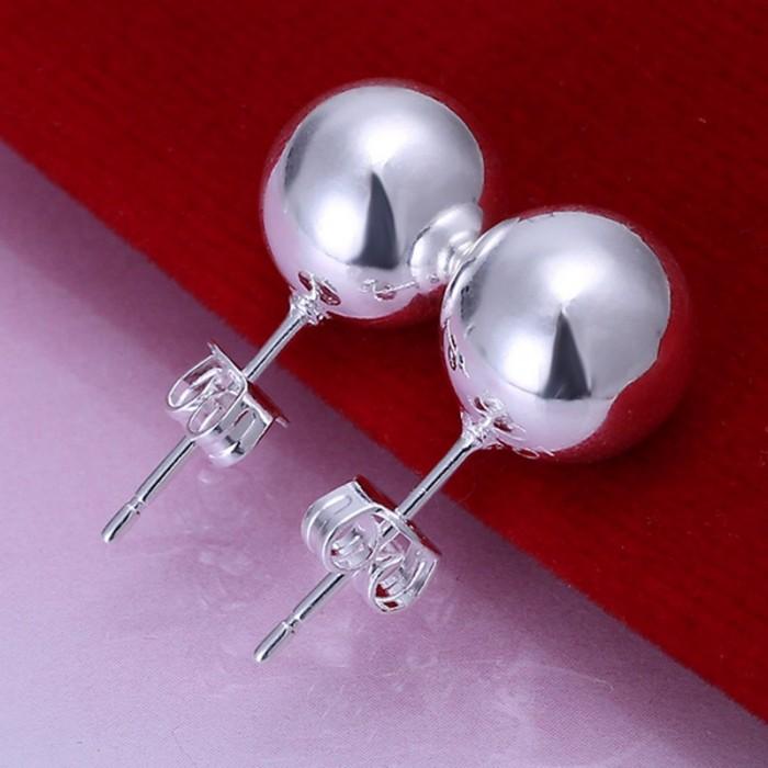 SE074 Silver Jewelry 10mm Ball Stud Earrings For Women