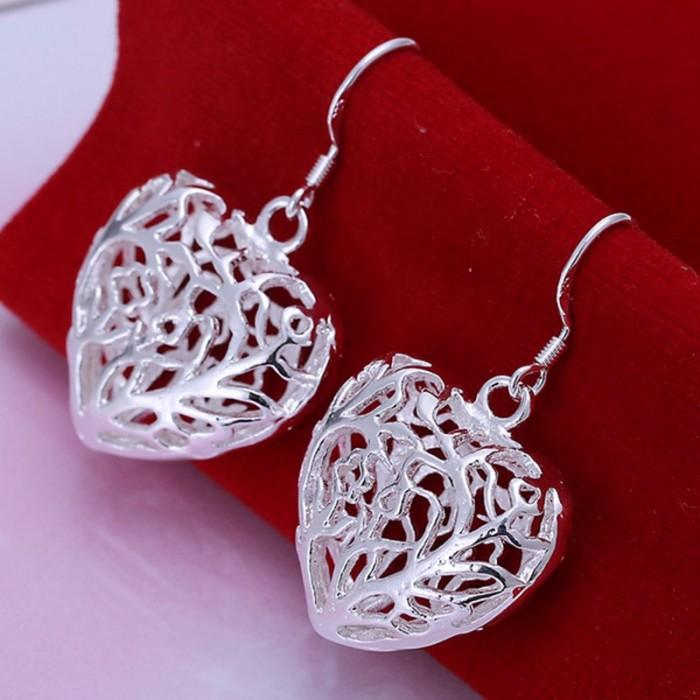 SE075 Silver Jewelry Hollow Heart Dangle Earrings For Women