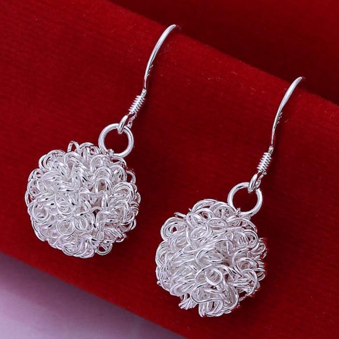 SE076 Silver Jewelry Mesh Ball Dangle Earrings For Women