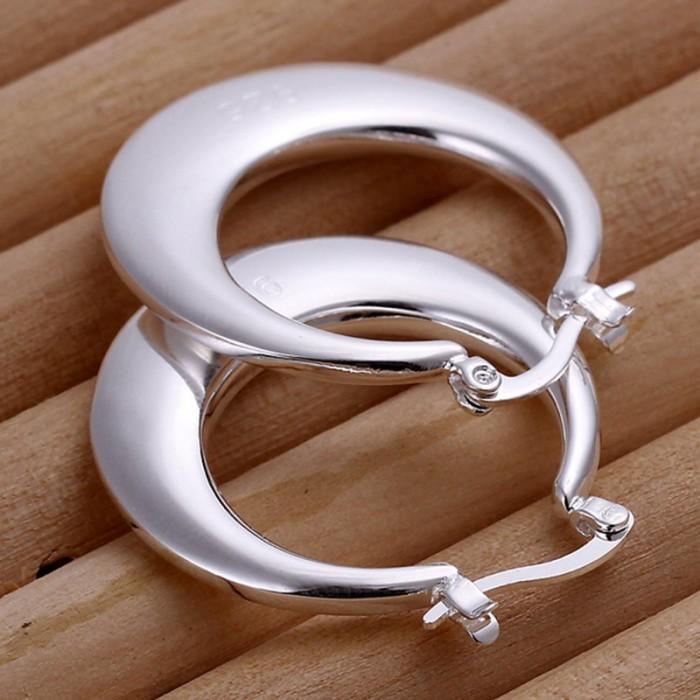 SE077 Silver Jewelry Moon Hoop Earrings For Women