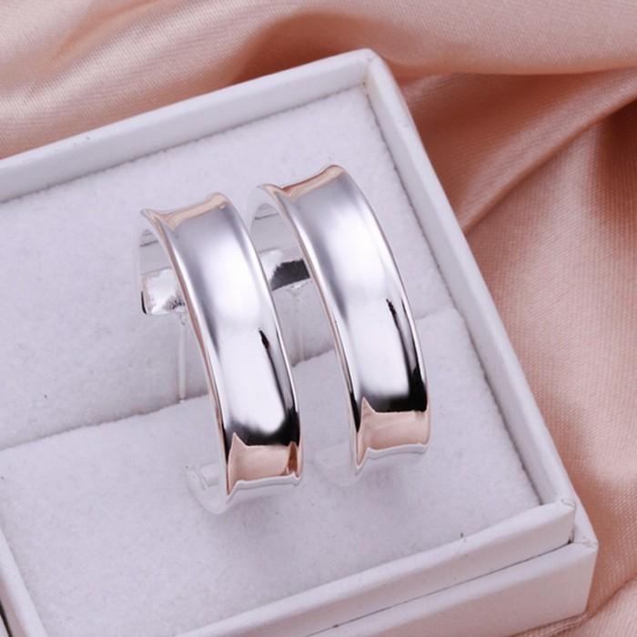 SE078-2 Silver Jewelry Bright Circel Hoop Earrings For Women