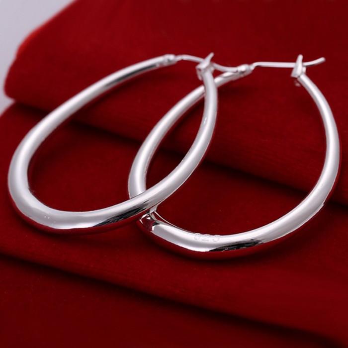 SE080 Silver Jewelry Bright U Hoop Earrings For Women