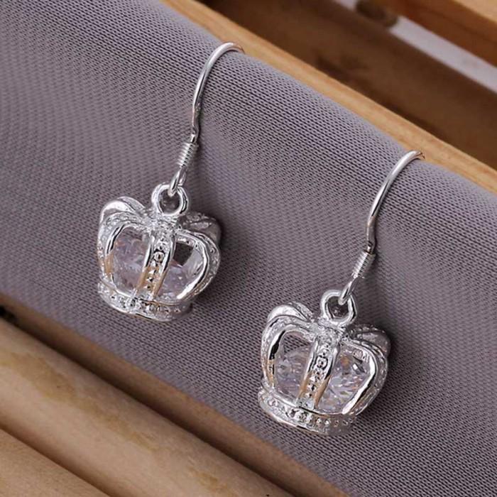 SE081 Silver Jewelry Crystal Crown Dangle Earrings For Women