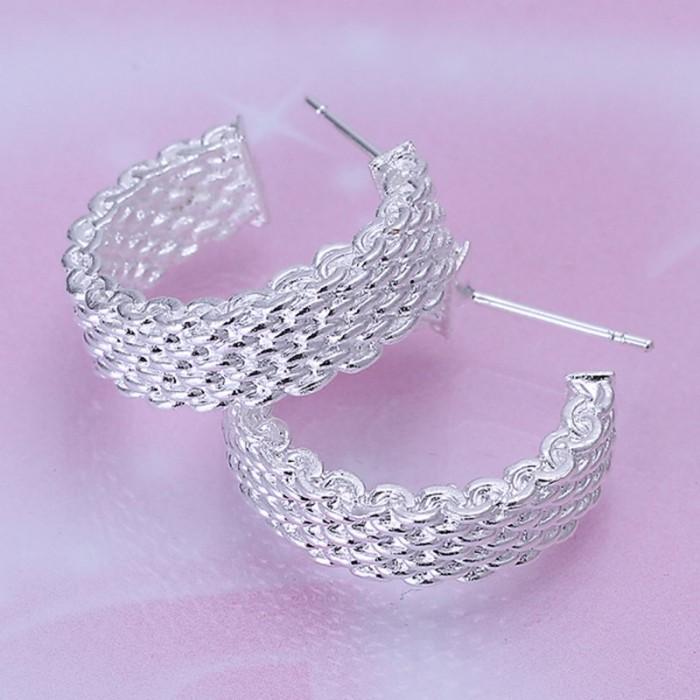 SE082 Silver Jewelry Mesh Circel Stud Earrings For Women