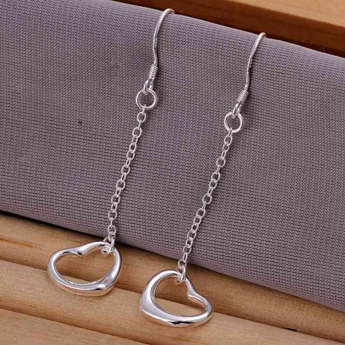 SE086 Silver Jewelry Chain Heart Long Dangle Earrings For Women
