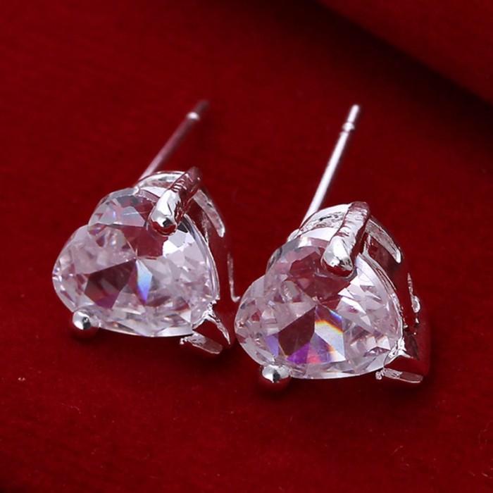 SE087 Silver Jewelry Crystal Heart Stud Earrings For Women