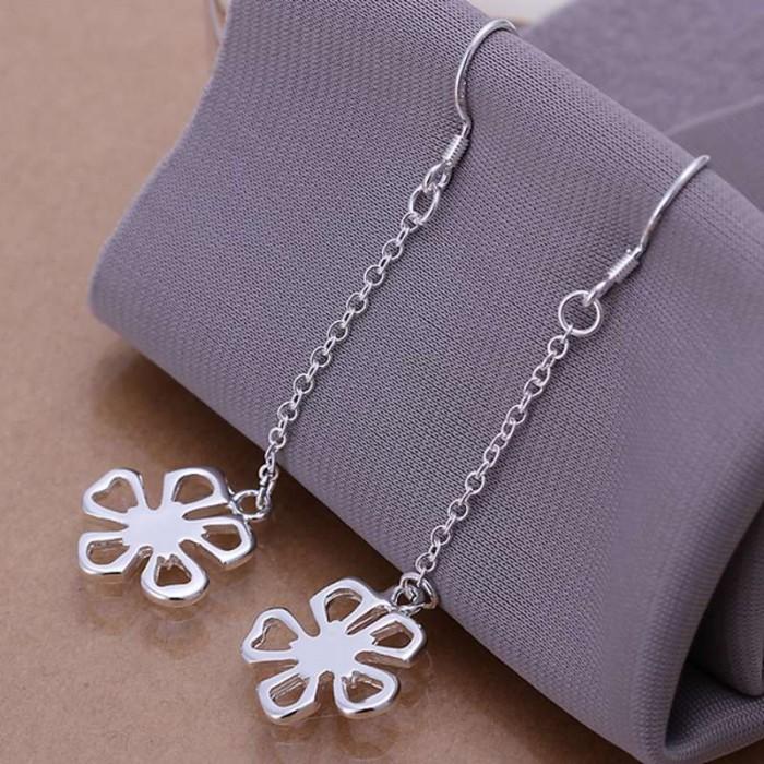 SE089 Silver Jewelry Chain Flower Long Dangle Earrings For Women