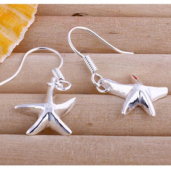 SE090 Silver Jewelry Star Dangle Earrings For Women
