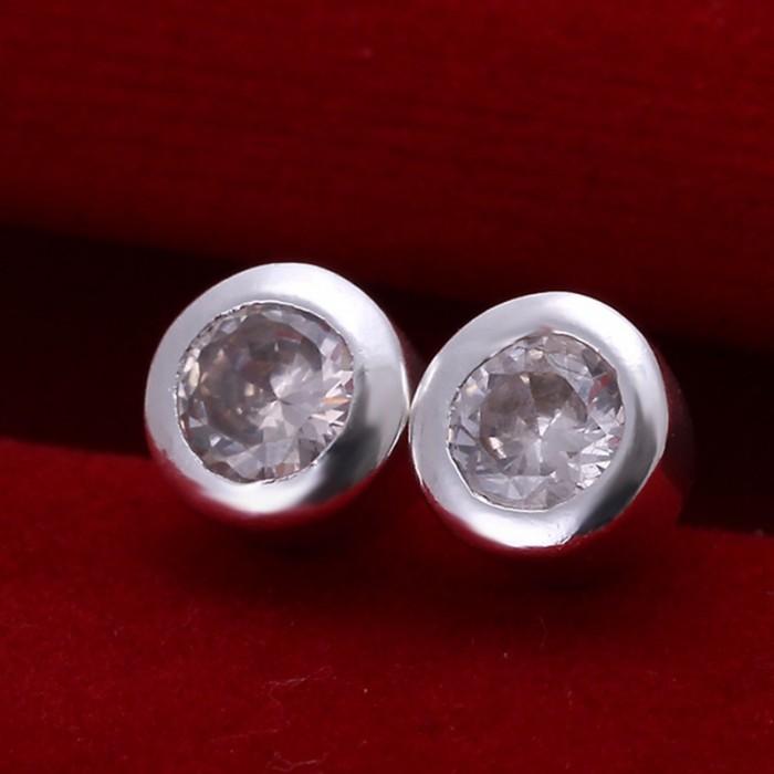 SE093 Silver Jewelry Crystal Stud Earrings For Women