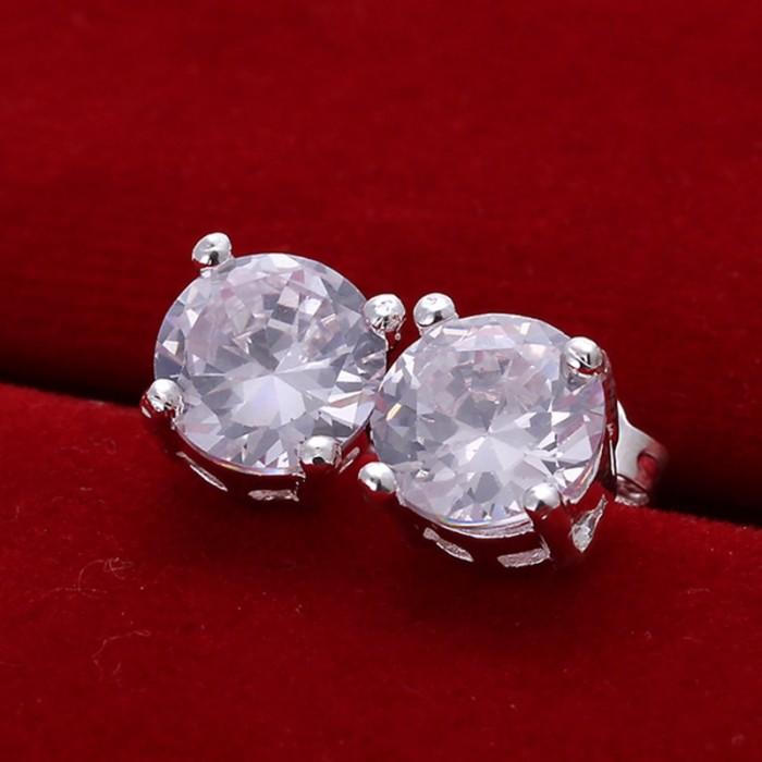 SE096 Silver Jewelry Crystal Round Stud Earrings For Women