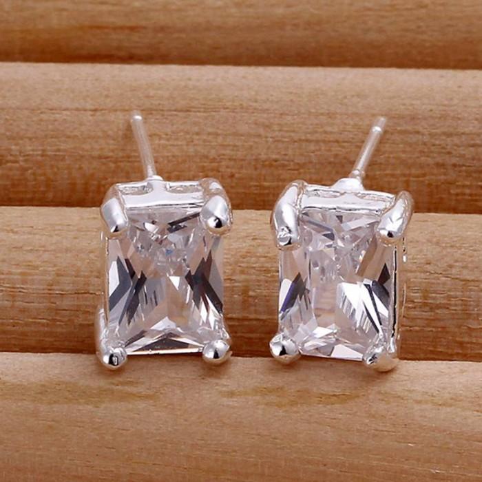 SE098 Silver Jewelry Crystal Stud Earrings For Women
