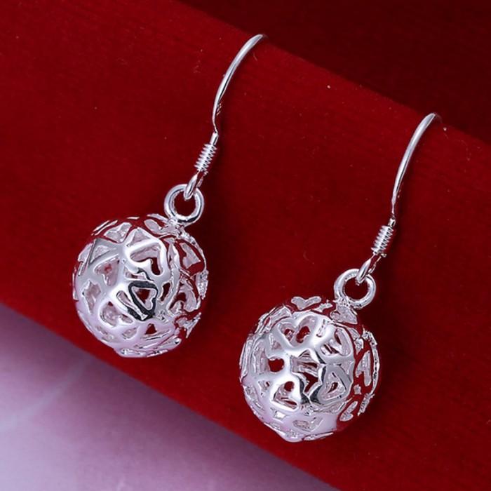 SE100 Silver Jewelry Hollow Ball Dangle Earrings For Women