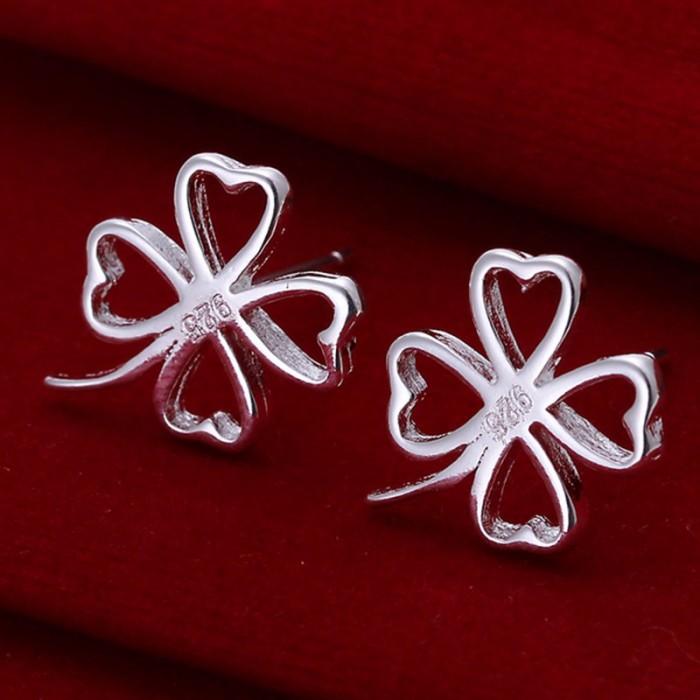 SE101 Silver Jewelry Flower Stud Earrings For Women