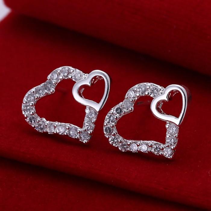 SE104 Silver Jewelry Crystal 2Hearts Stud Earrings For Women