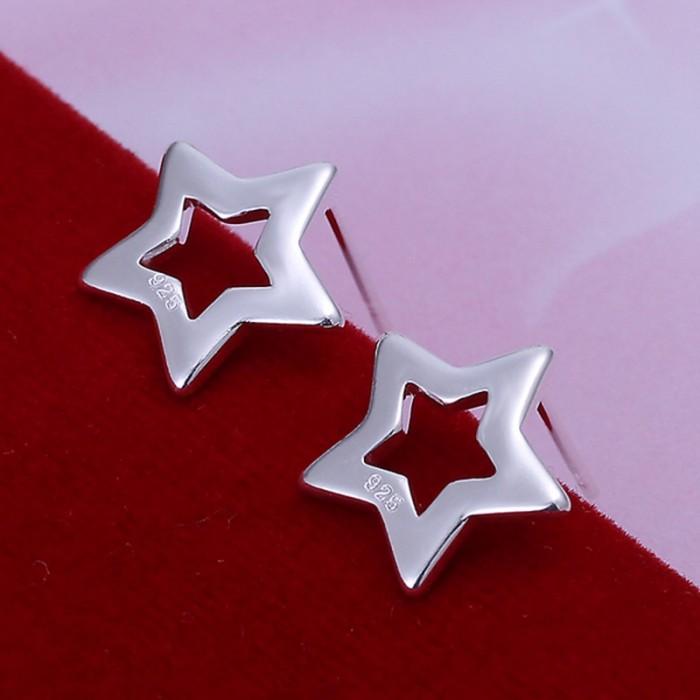 SE107 Silver Jewelry Star Stud Earrings For Women