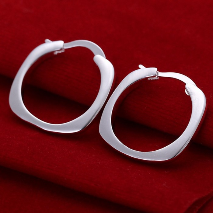 SE123 Silver Jewelry Square&Circle Hoop Earrings For Women