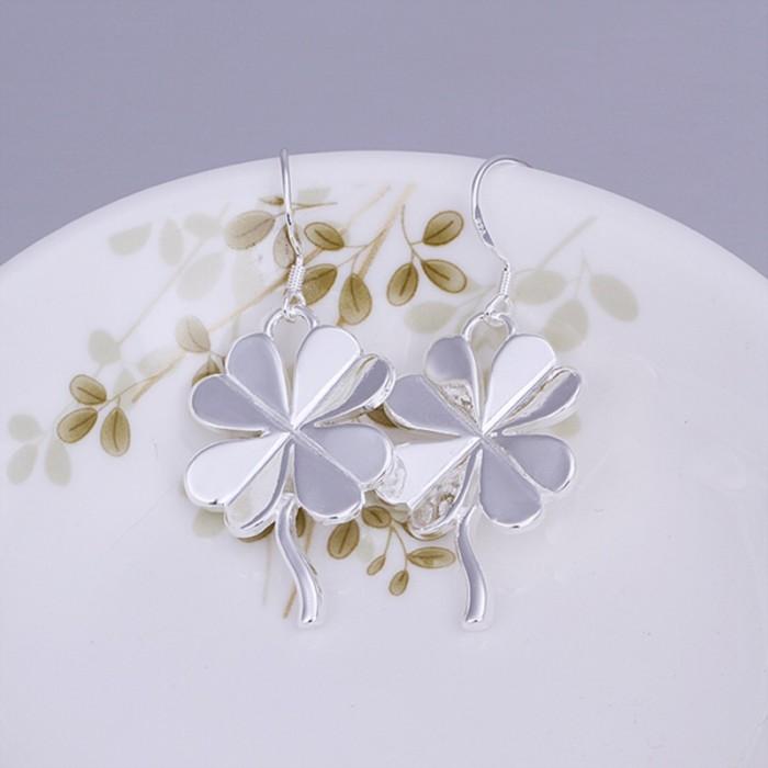 SE152 Silver Jewelry Flower Dangle Earrings For Women