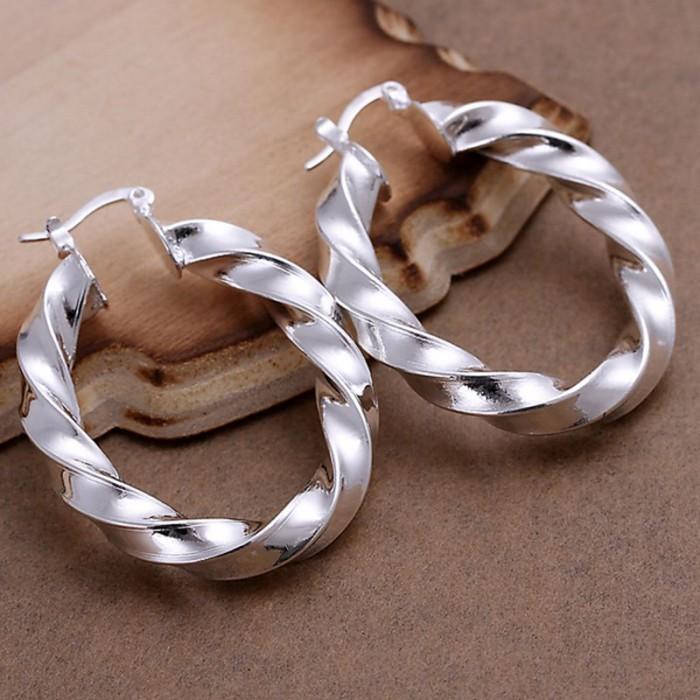 SE154 Silver Jewelry Ripple Hoop Earrings For Women