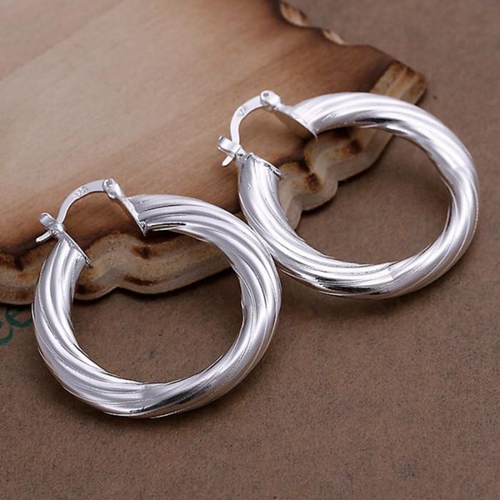 SE155 Silver Jewelry Rope Circle Hoop Earrings For Women