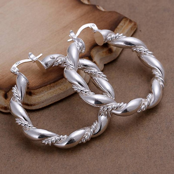 SE156 Silver Jewelry Rope Round Hoop Earrings For Women