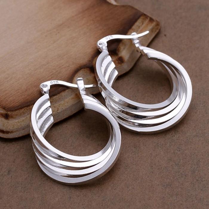 SE157 Silver Jewelry 4Line Hoop Earrings For Women