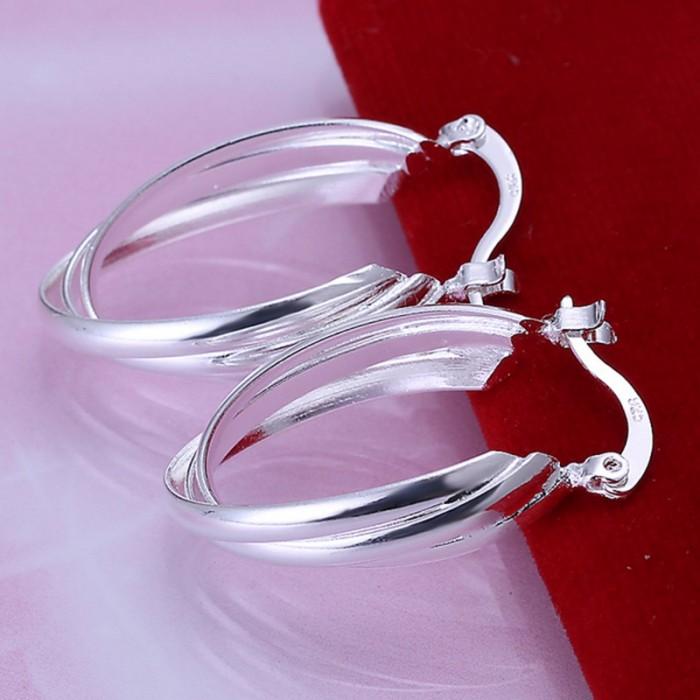 SE158 Silver Jewelry 3Line Hoop Earrings For Women