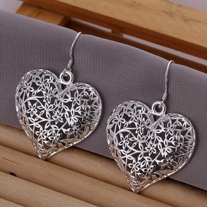 SE160 Silver Jewelry Flower Heart Dangle Earrings For Women