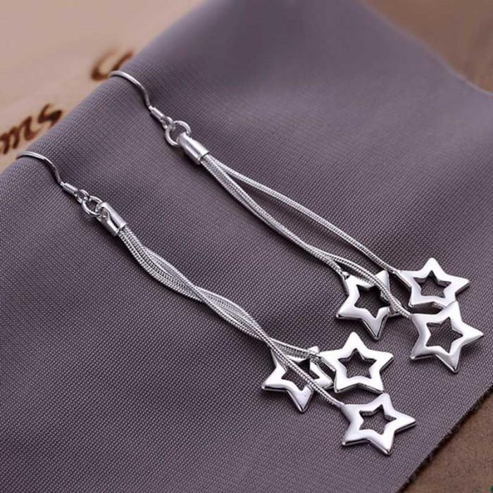 SE161 Silver Jewelry 3Chain&Star Long Dangle Earrings For Women