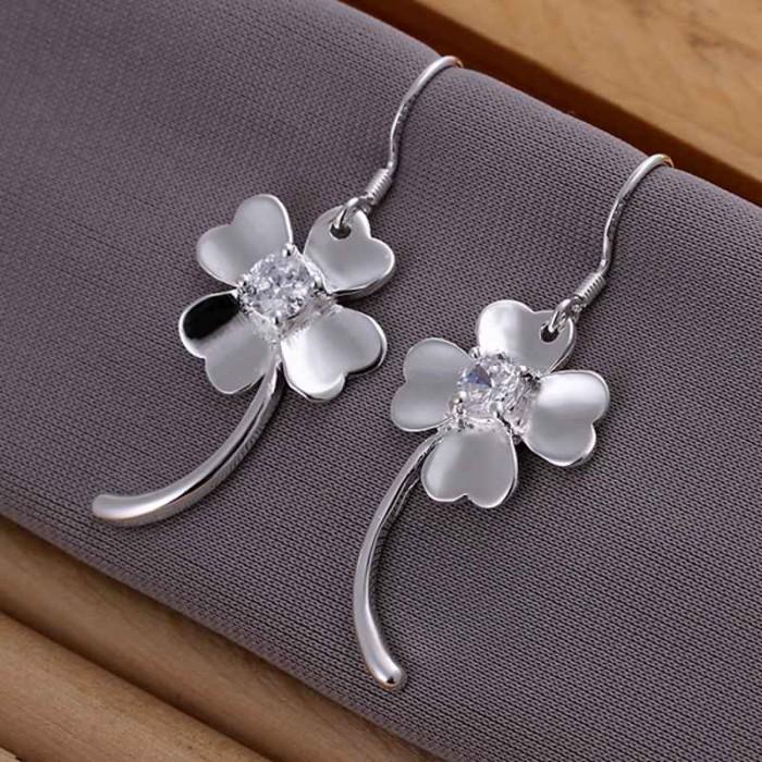 SE162 Silver Jewelry Crystal Flower Dangle Earrings For Women