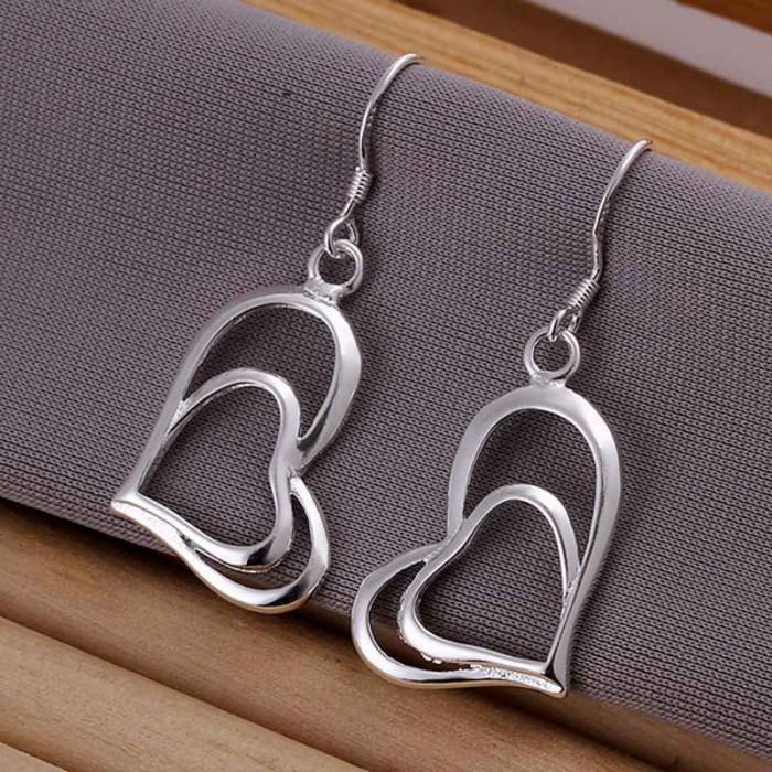 SE165 Silver Jewelry 2 Hearts Dangle Earrings For Women