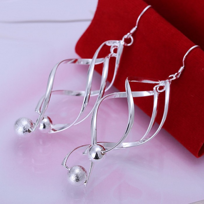 SE166 Silver Jewelry Beauty Dangle Ball Earrings For Women