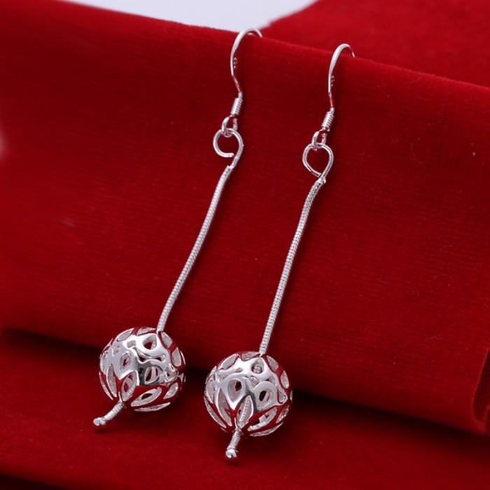 SE167 Silver Jewelry Chain&Ball Dangle Earrings For Women