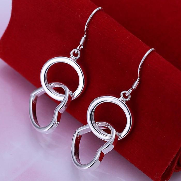 SE171 Silver Jewelry Circle&Heart Dangle Earrings For Women