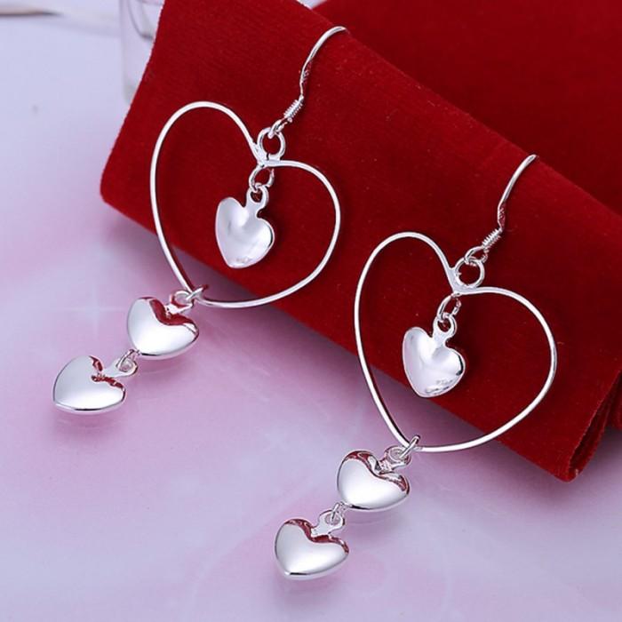 SE176 Silver Jewelry 4Hearts Dangle Earrings For Women