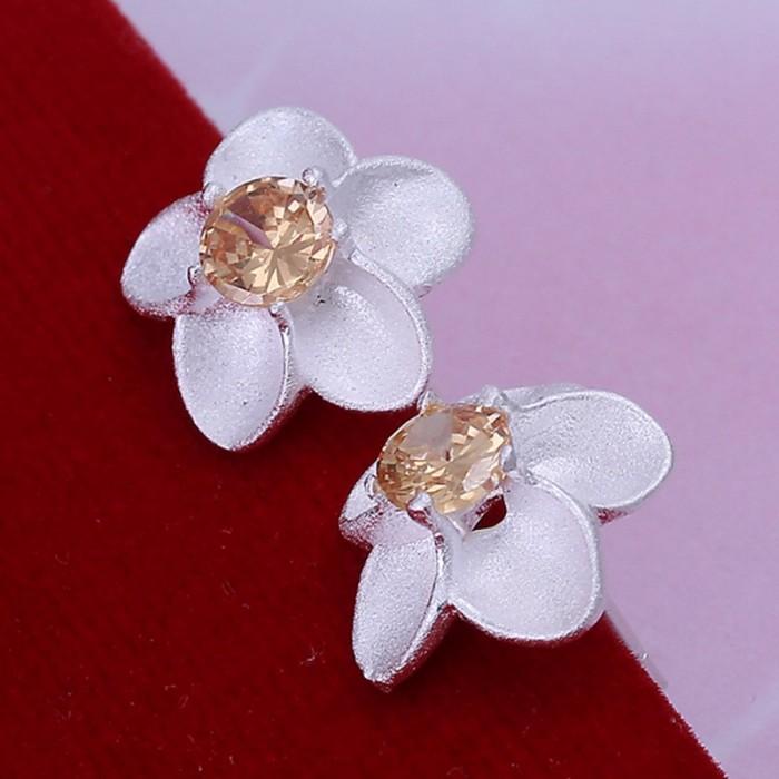 SE178 Silver Jewelry Orange Crystal Flower Stud Earrings For Women