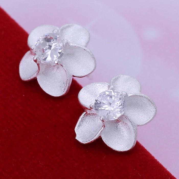SE179 Silver Jewelry Crystal Flower Stud Earrings For Women