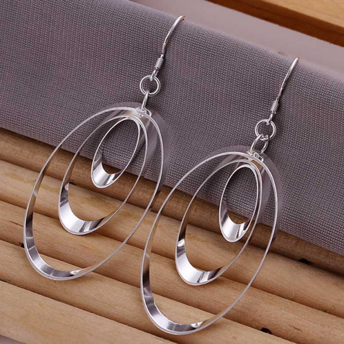 SE180 Silver Jewelry 3Circle Dangle Earrings For Women
