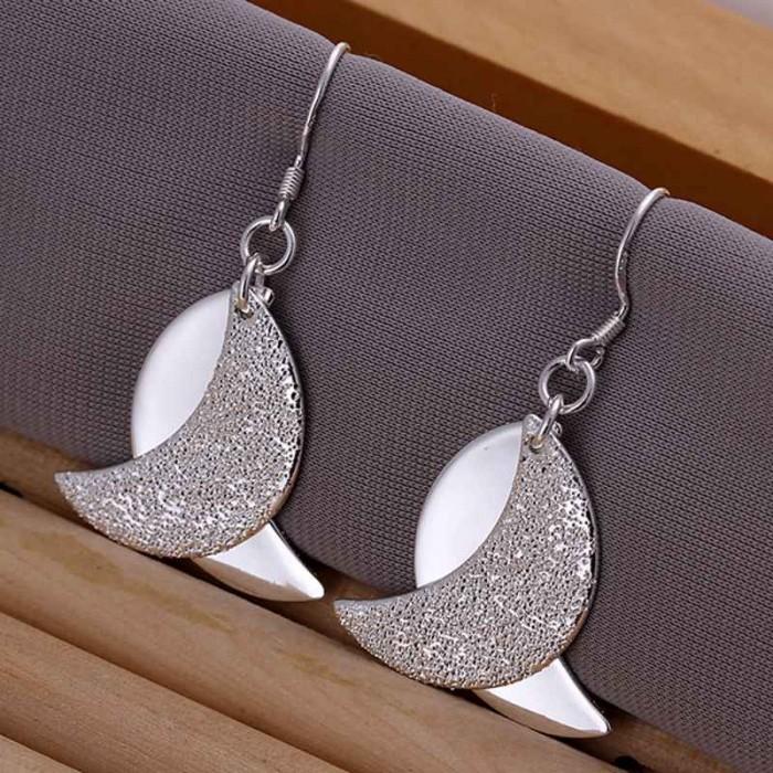SE181 Silver Jewelry 2Moons Dangle Earrings For Women