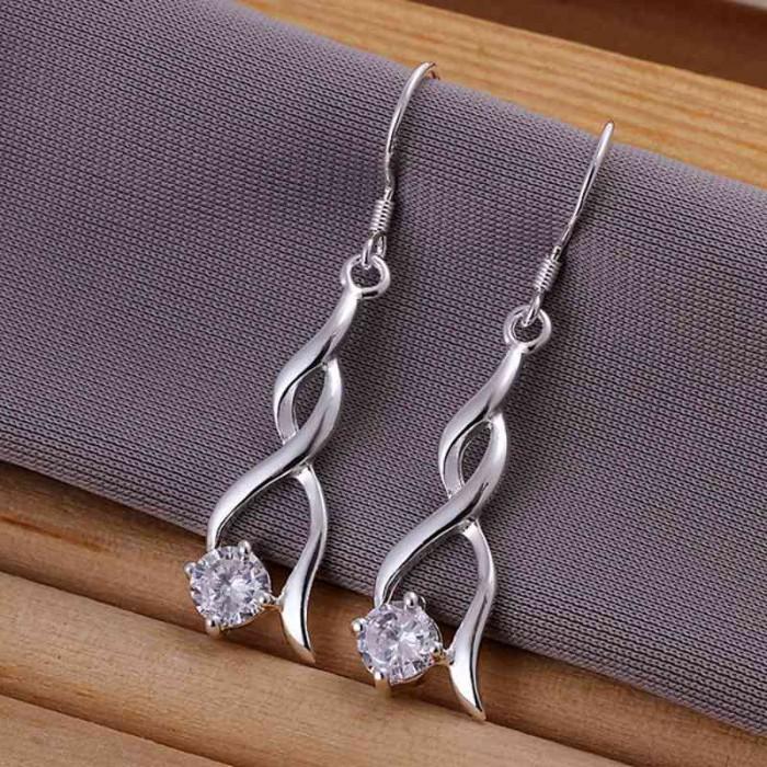 SE182 Silver Jewelry Crystal Dangle Earrings For Women