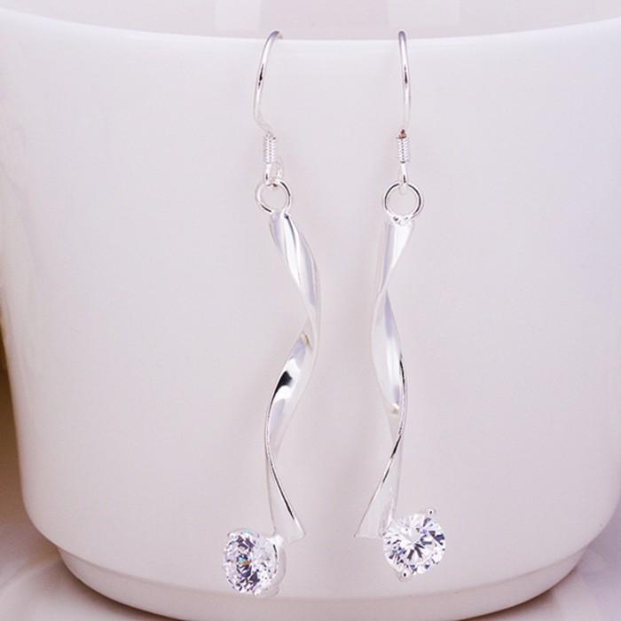SE185 Silver Jewelry Crystal Dangle Earrings For Women