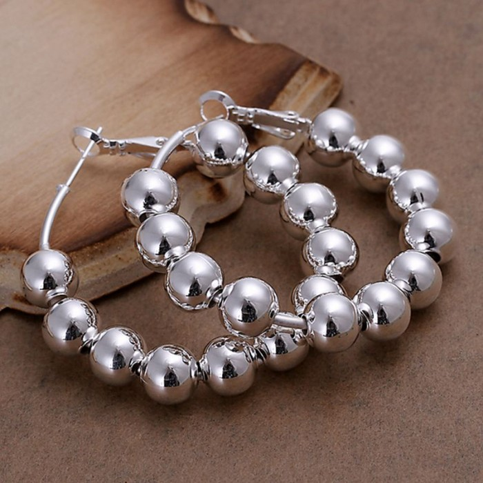 SE188 Silver Jewelry Beads Circle Hoop Earrings For Women