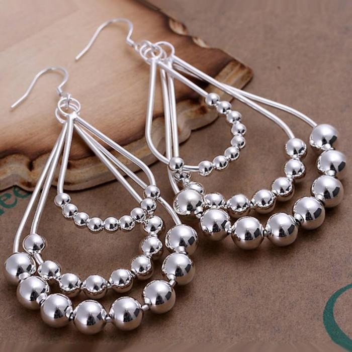 SE189 Silver Jewelry Beads Dangle Earrings For Women