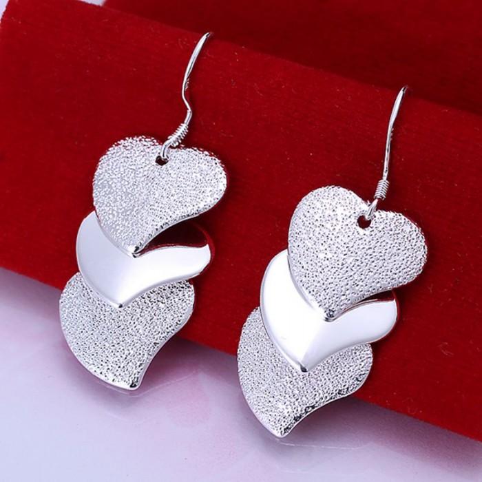 SE191 Silver Jewelry 3 Hearts Dangle Earrings For Women