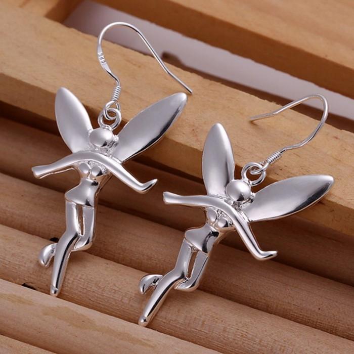 SE193 Silver Jewelry Angel Dangle Earrings For Women